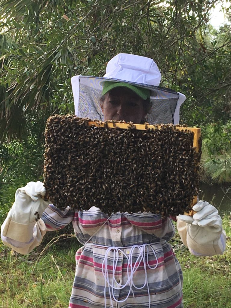 Students holding live bees during Hive inspections at Bee 101 Hands on Workshop | Lee Honey Bee